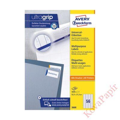 Etikett AVERY 3668 52,5x21,2mm univerzális 5600 címke/doboz 100 ív/doboz