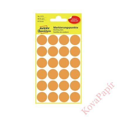 Etikett AVERY 3173 jelölőpont 18mm neon narancs 96 db/csomag