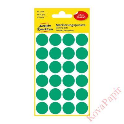 Etikett AVERY 3006 jelölőpont 18mm zöld 96 db/csomag