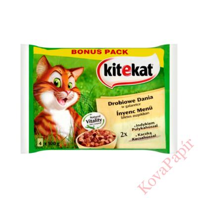 Állateledel alutasakos KITEKAT macskáknak 4-pack ínyenc menü pulyka-kacsahús 4x100g