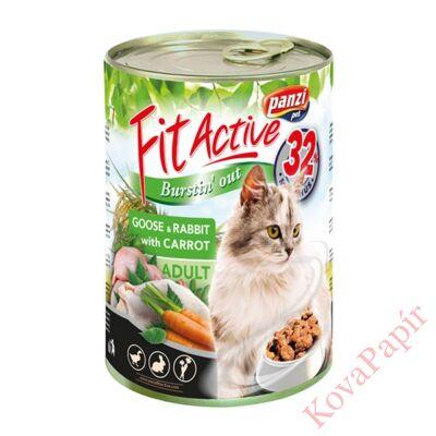 Állateledel konzerv PANZI FitActive felnőtt macskának liba- és nyúlhússal, répával 415 g
