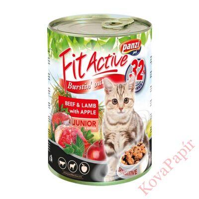 Állateledel konzerv PANZI FitActive junior macskának marha- és bárányhússal 415 g