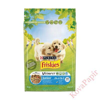 Állateledel száraz PURINA Friskies Vitafit Junior kutyáknak csirkehússal, zöldségekkel és tejjel 3kg