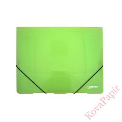 Gumis mappa E-COLLECTION A/4 műanyag zöld