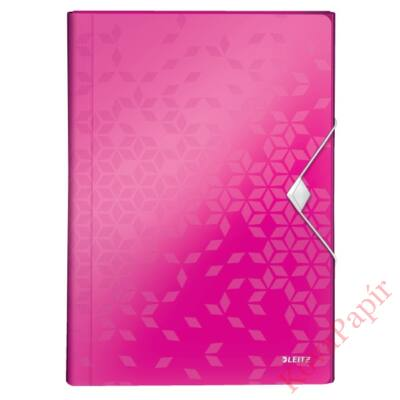 Harmónika mappa LEITZ Wow A/4 6 műanyag rekeszes rózsaszín