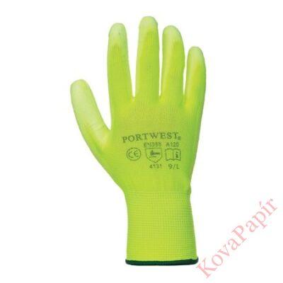 Kesztyű munkavédelmi (szerelő) 9-es sárga színű tenyéren mártott