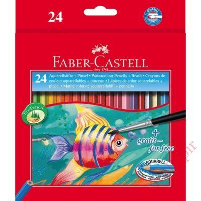 Színes ceruza FABER-CASTELL Aquarelle hatszögletű 24 db/készlet+ecset