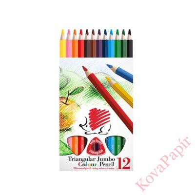 Színes ceruza ICO Creative Kids háromszögletű vastag festett 12 db/készlet