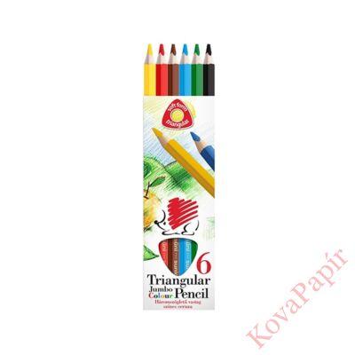 Színes ceruza ICO Creative Kids háromszögletű vastag festett 6 db/készlet