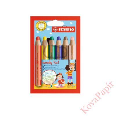 Színes ceruza STABILO Woody 3in1 hengeres vastag 6 db/készlet
