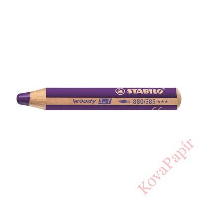 Színes ceruza STABILO Woody 3in1 hengeres vastag sötétlila