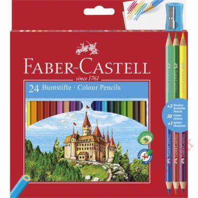 Színes ceruza FABER-CASTELL hatszögletű 24 db/készlet+ 3 db kétvégű színes ceruza