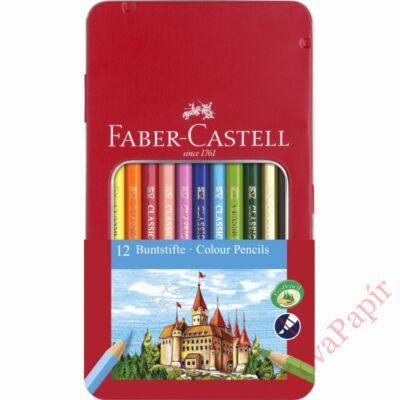 Színes ceruza FABER-CASTELL hatszögletű fémdobozos 12 db/készlet