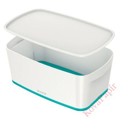 Tároló doboz LEITZ Wow Mybox fedeles műanyag kicsi fehér/jégkék
