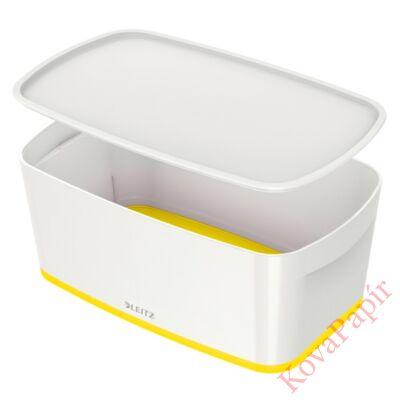 Tároló doboz LEITZ Wow Mybox fedeles műanyag kicsi fehér/sárga