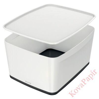 Tároló doboz LEITZ Wow Mybox fedeles műanyag nagy fehér/fekete