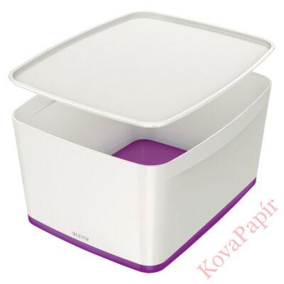 Tároló doboz LEITZ Wow Mybox fedeles műanyag nagy fehér/lila