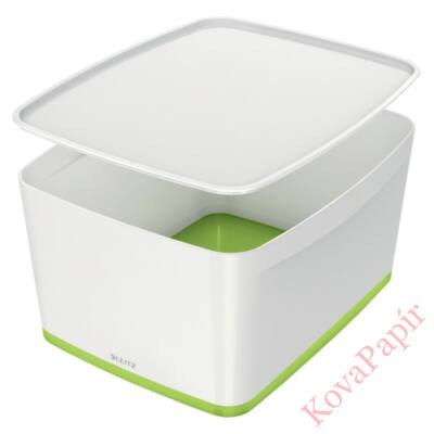 Tároló doboz LEITZ Wow Mybox fedeles műanyag nagy fehér/zöld