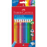 Színes ceruza FABER-CASTELL Jumbo Grip háromszögletű 12 db/készlet+hegyező