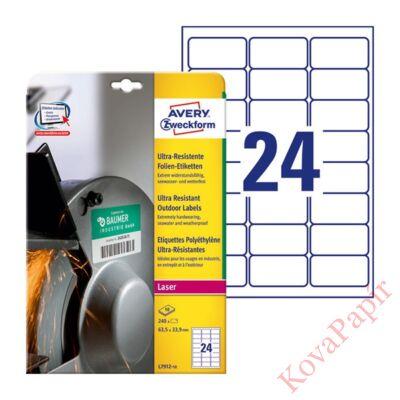 Etikett AVERY L7912-10 63,5 x 33,9 mm ultra ellenálló 240 címke/doboz 10 ív/doboz