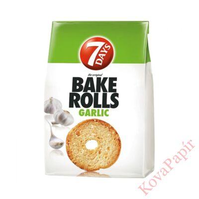 Kétszersült kenyérkarika 7DAYS Bake Rolls fokhagymás 80g