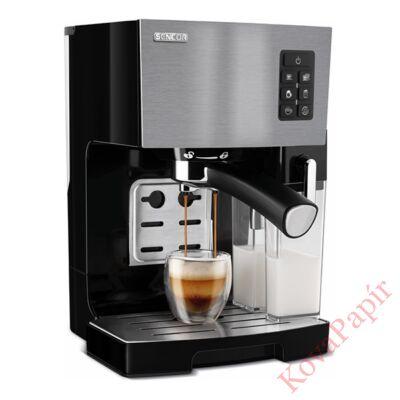 Presszó kávéfőző SENCOR SES 4050SS 2 személyes tejhabosítóval acél