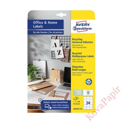Etikett AVERY LR3475-10 70x36mm univerzális  környezetbarát  240 címke/doboz 10 ív/doboz