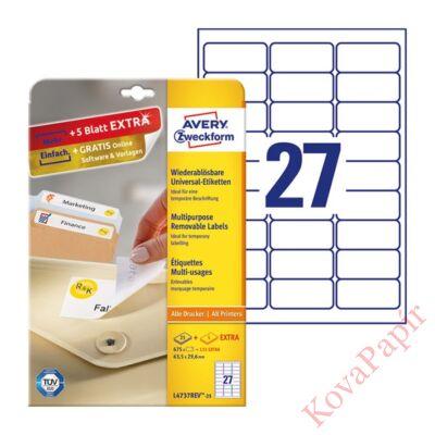 Etikett AVERY L4737REV-25 63,5x29,6mm univerzális visszaszedhető 810 címke/doboz 30 ív/doboz