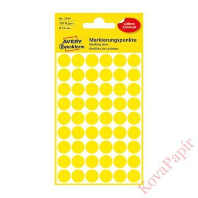Etikett AVERY 3144 jelölőpont 12mm sárga 270 db/csomag