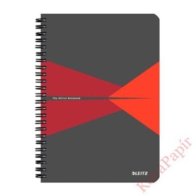 Spirálfüzet LEITZ Office A/5 karton borítóval 90 lapos kockás piros