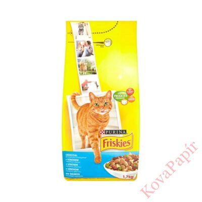 Állateledel száraz PURINA Friskies macskáknak lazaccal és zöldségekkel 1,7kg
