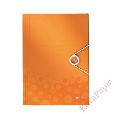 Gumis mappa LEITZ Wow A/4 műanyag narancs
