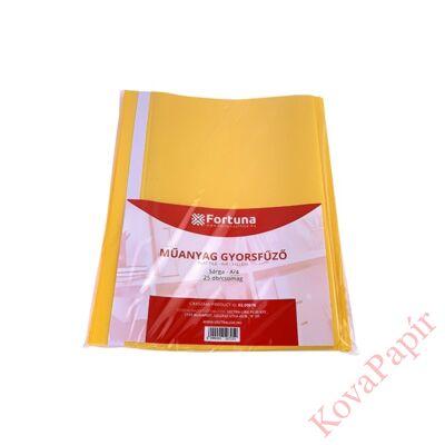 Gyorsfűző FORTUNA műanyag sárga 25 db/csomag