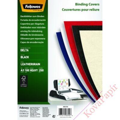 Hátlap FELLOWES Delta A/3 250g matt bőrhatású fekete 100/csom