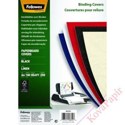 Hátlap FELLOWES Linen A/4 270g vászonhatású fekete 100/csom