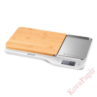 Konyhai mérleg SENCOR SKS 6501WH 5 kg bambusz deszkával fehér