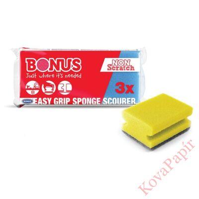 Mosogatószivacs BONUS formázott 9,5x7,1x13,5 cm 3 db-os