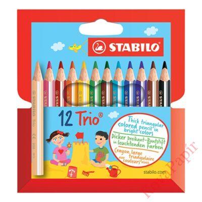 Színes ceruza STABILO Trio thick háromszögletű rövid 12 db/készlet