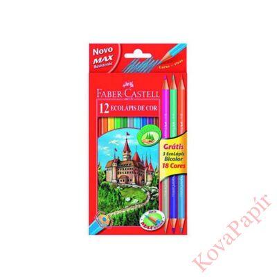 Színes ceruza FABER-CASTELL hatszögletű 12 db/készlet+ 3 db kétvégű ceruza