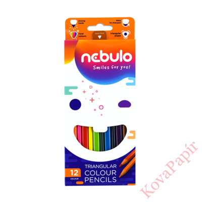 Színes ceruza NEBULO háromszögletű 12 db/készlet