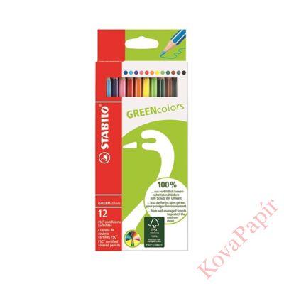 Színes ceruza STABILO Greencolors hatszögletű környezetbarát 12 db/készlet