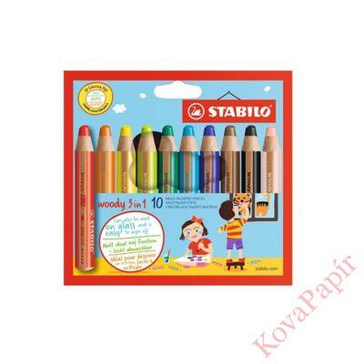 Színes ceruza STABILO Woody 3in1 hengeres vastag 10 db/készlet