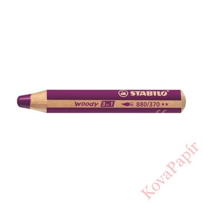Színes ceruza STABILO Woody 3in1 hengeres vastag lila