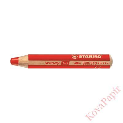 Színes ceruza STABILO Woody 3in1 hengeres vastag piros