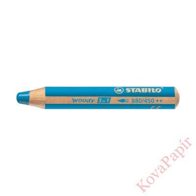 Színes ceruza STABILO Woody 3in1 hengeres vastag világoskék