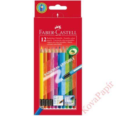 Színes ceruza FABER-CASTELL háromszögletű 12 db/készlet+színes radír