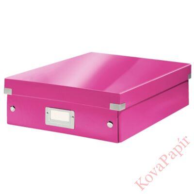 Tároló doboz LEITZ Click&Store rendszerező M méret rózsaszín