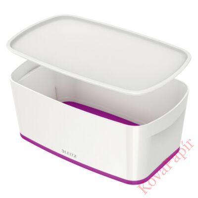 Tároló doboz LEITZ Wow Mybox fedeles műanyag kicsi fehér/lila