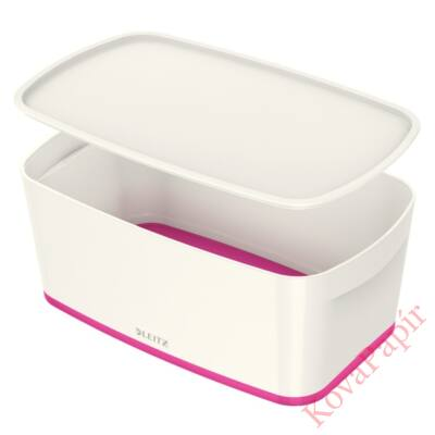 Tároló doboz LEITZ Wow Mybox fedeles műanyag kicsi fehér/rózsaszín