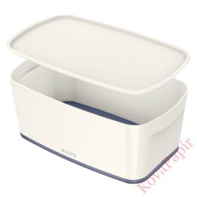 Tároló doboz LEITZ Wow Mybox fedeles műanyag kicsi fehér/szürke